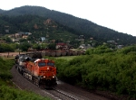 The storm over, BNSF 5968 leads it's train south once again